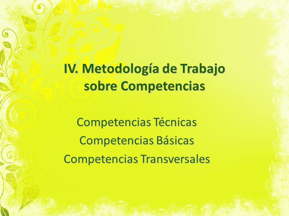 IV. Metodología de Trabajo sobre Competencias Competencias Técnicas Competencias Básicas Competencias Transversales