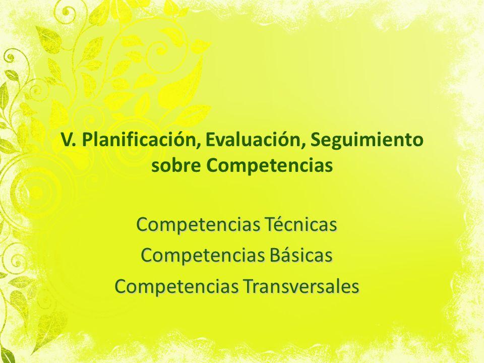 V. Planificación, Evaluación, Seguimiento sobre Competencias Competencias Técnicas Competencias Básicas Competencias Transversales