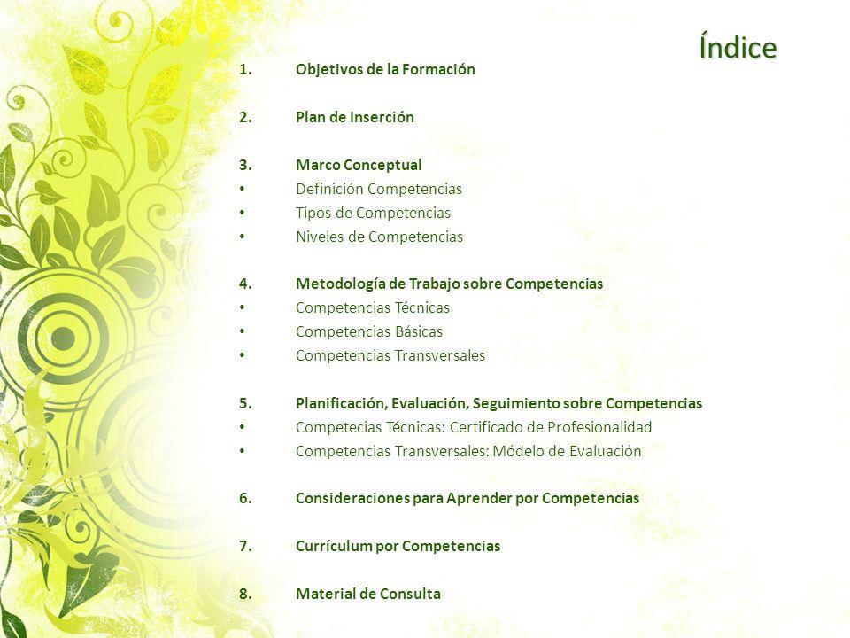Índice 1.Objetivos de la Formación 2.Plan de Inserción 3.Marco Conceptual Definición Competencias Tipos de Competencias Niveles de Competencias 4.Meto