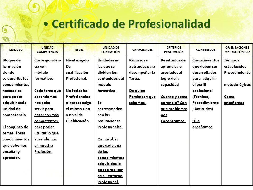 Certificado de Profesionalidad Certificado de Profesionalidad MODULO UNIDAD COMPETENCIA NIVEL UNIDAD DE FORMACIÓN CAPACIDADES CRITERIOS EVALUACIÓN CON