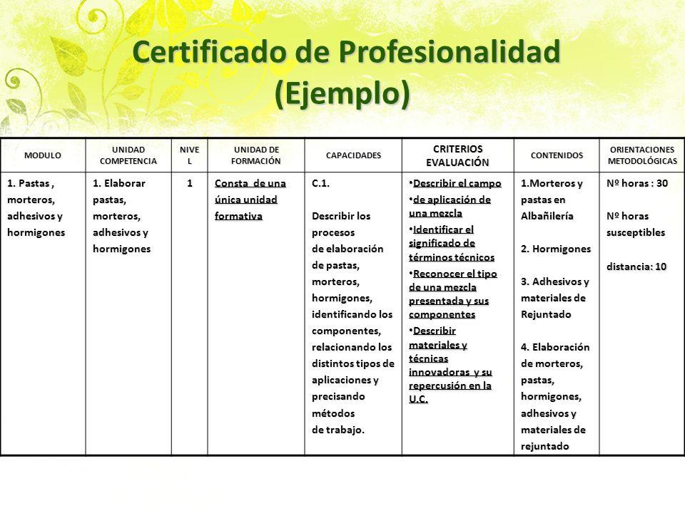 Certificado de Profesionalidad (Ejemplo) Certificado de Profesionalidad (Ejemplo) MODULO UNIDAD COMPETENCIA NIVE L UNIDAD DE FORMACIÓN CAPACIDADES CRI