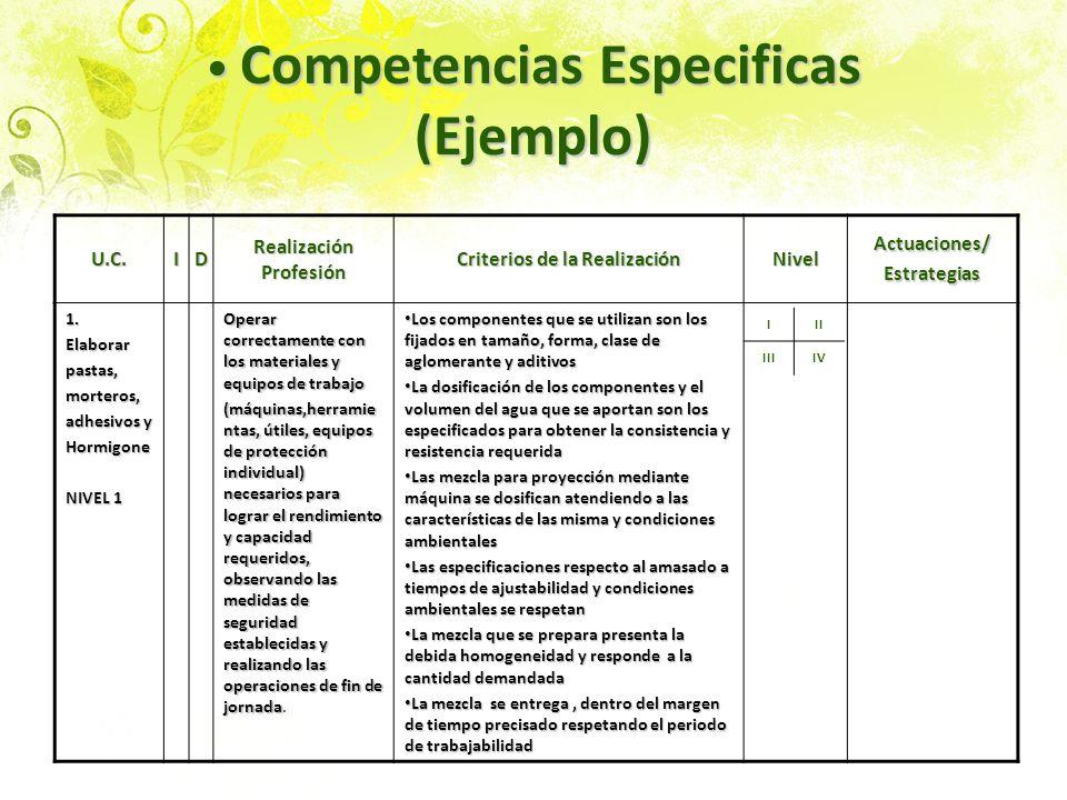 Competencias Especificas (Ejemplo) Competencias Especificas (Ejemplo) U.C.ID Realización Profesión Criterios de la Realización NivelActuaciones/Estrat