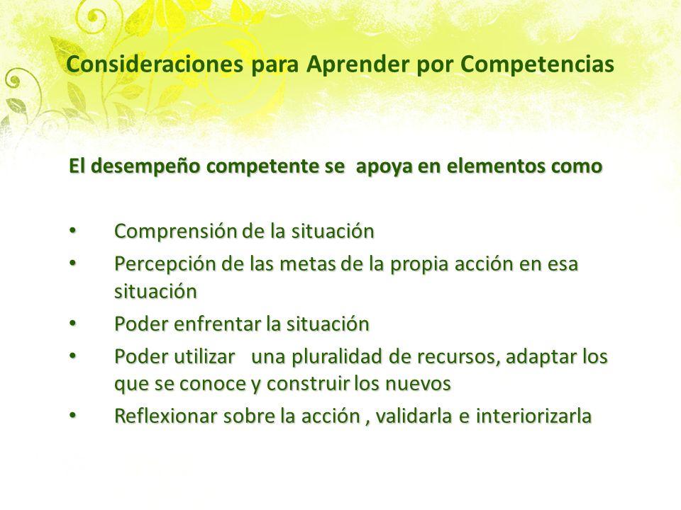 Consideraciones para Aprender por Competencias El desempeño competente se apoya en elementos como Comprensión de la situación Comprensión de la situac