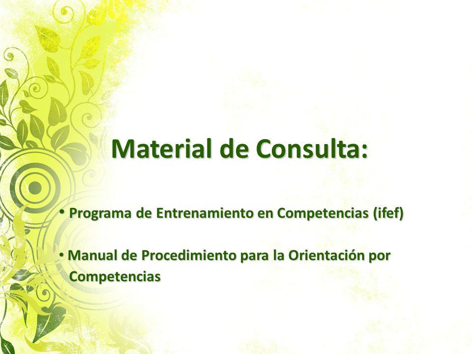 Material de Consulta: Material de Consulta: Programa de Entrenamiento en Competencias (ifef) Programa de Entrenamiento en Competencias (ifef) Manual d