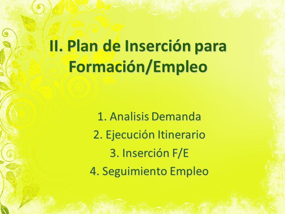 II. Plan de Inserción para Formación/Empleo 1. Analisis Demanda 2. Ejecución Itinerario 3. Inserción F/E 4. Seguimiento Empleo
