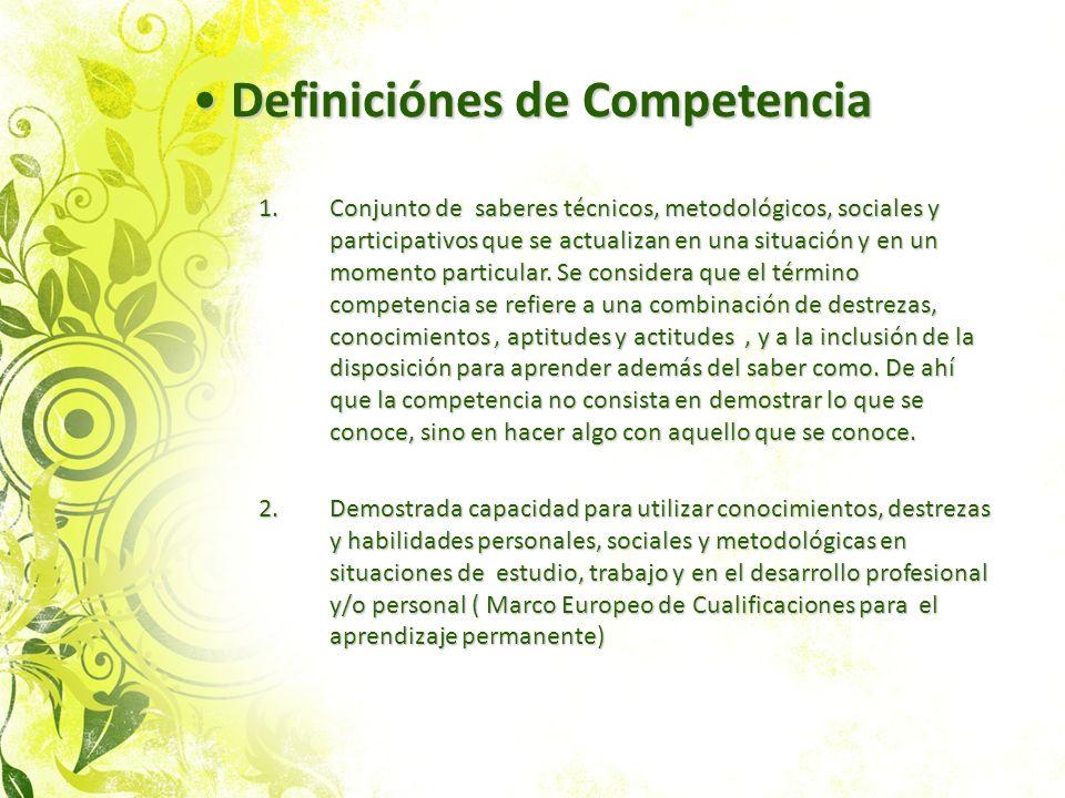 Definiciónes de Competencia Definiciónes de Competencia 1.Conjunto de saberes técnicos, metodológicos, sociales y participativos que se actualizan en