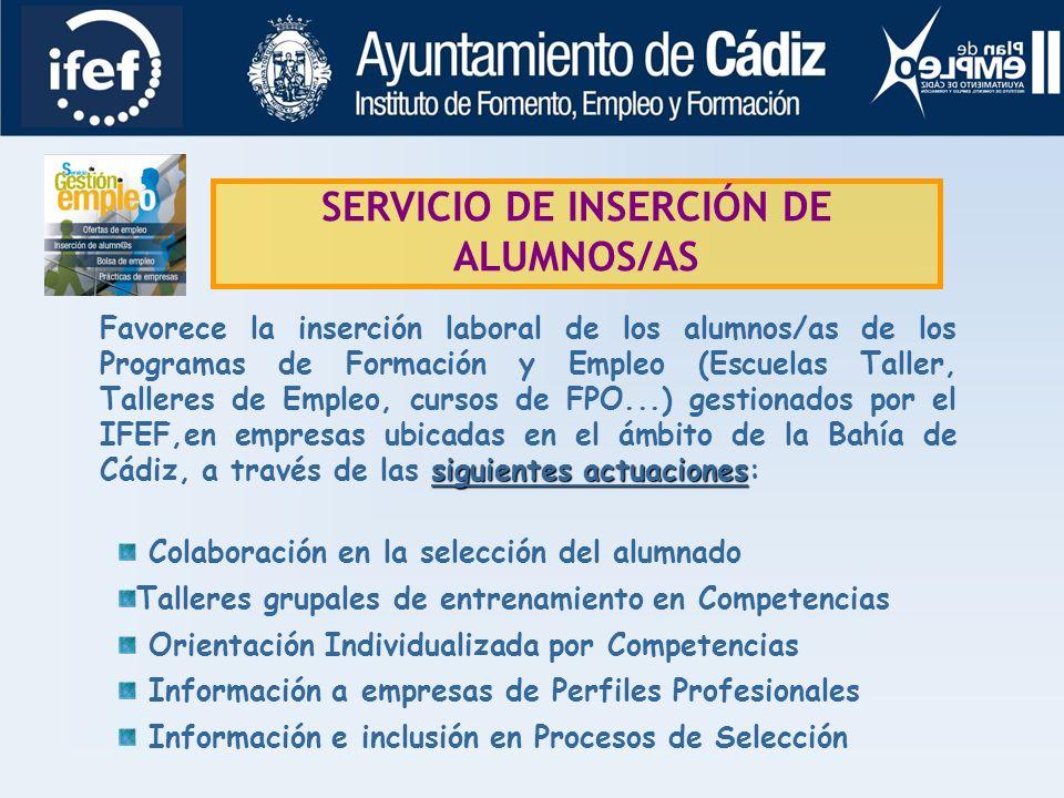 LÍNEA DE EMPLEABILIDAD SERVICIO DE GESTIÓN DE OFERTAS SERVICIO DE INSERCIÓN DE ALUMNOS/AS BOLSA DE EMPLEO PROGRAMA DE PRÁCTICAS SERVICIOS SENSIBILIZAC