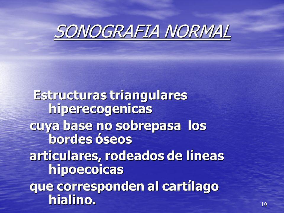 10 SONOGRAFIA NORMAL Estructuras triangulares hiperecogenicas Estructuras triangulares hiperecogenicas cuya base no sobrepasa los bordes óseos articul