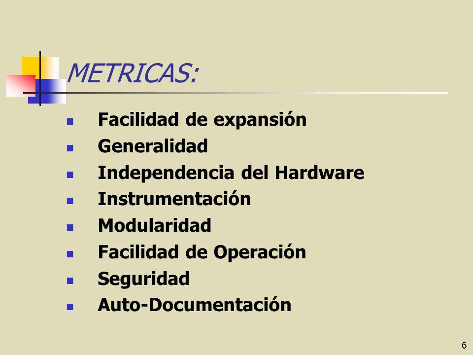 6 METRICAS: Facilidad de expansión Generalidad Independencia del Hardware Instrumentación Modularidad Facilidad de Operación Seguridad Auto-Documentación