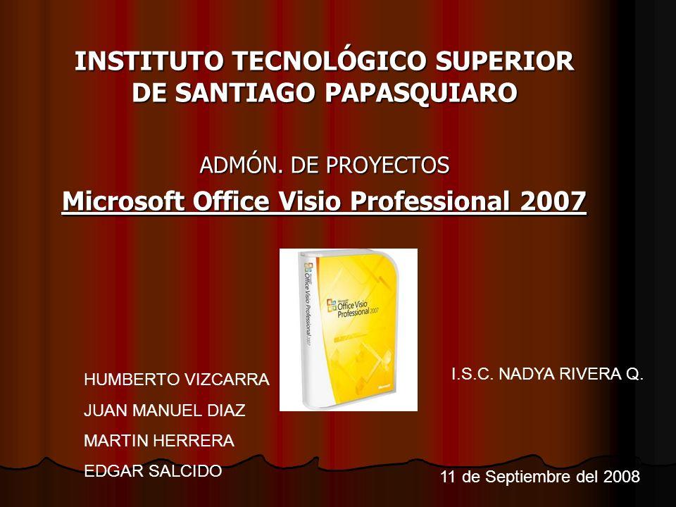 INSTITUTO TECNOLÓGICO SUPERIOR DE SANTIAGO PAPASQUIARO ADMÓN. DE PROYECTOS Microsoft Office Visio Professional 2007 HUMBERTO VIZCARRA JUAN MANUEL DIAZ