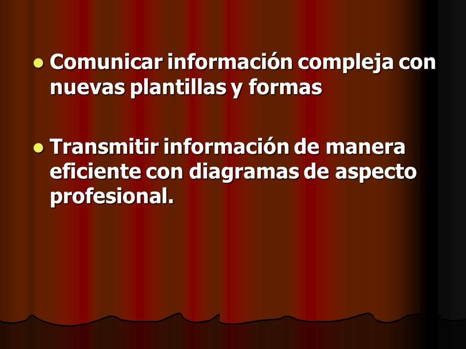 Comunicar información compleja con nuevas plantillas y formas Comunicar información compleja con nuevas plantillas y formas Transmitir información de