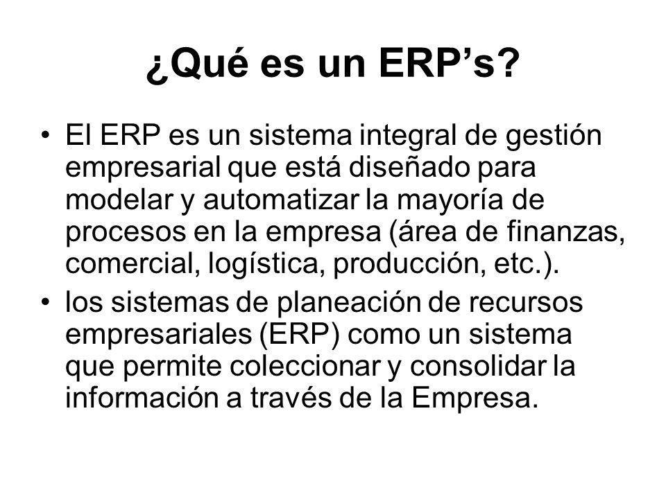 ¿Qué es un ERPs? El ERP es un sistema integral de gestión empresarial que está diseñado para modelar y automatizar la mayoría de procesos en la empres