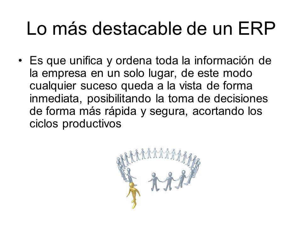 Lo más destacable de un ERP Es que unifica y ordena toda la información de la empresa en un solo lugar, de este modo cualquier suceso queda a la vista
