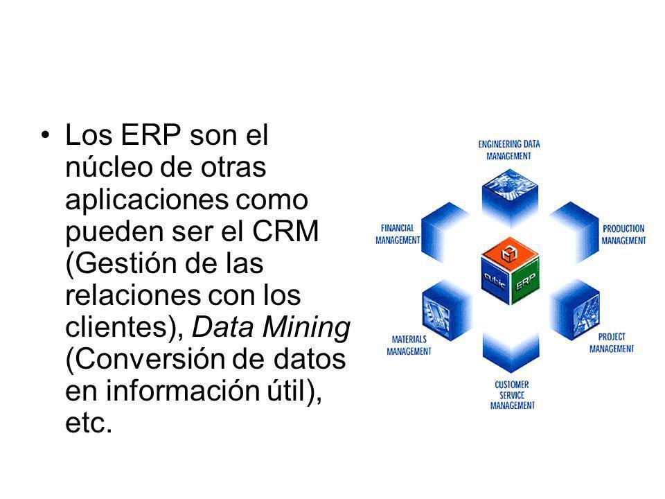 Los ERP son el núcleo de otras aplicaciones como pueden ser el CRM (Gestión de las relaciones con los clientes), Data Mining (Conversión de datos en i