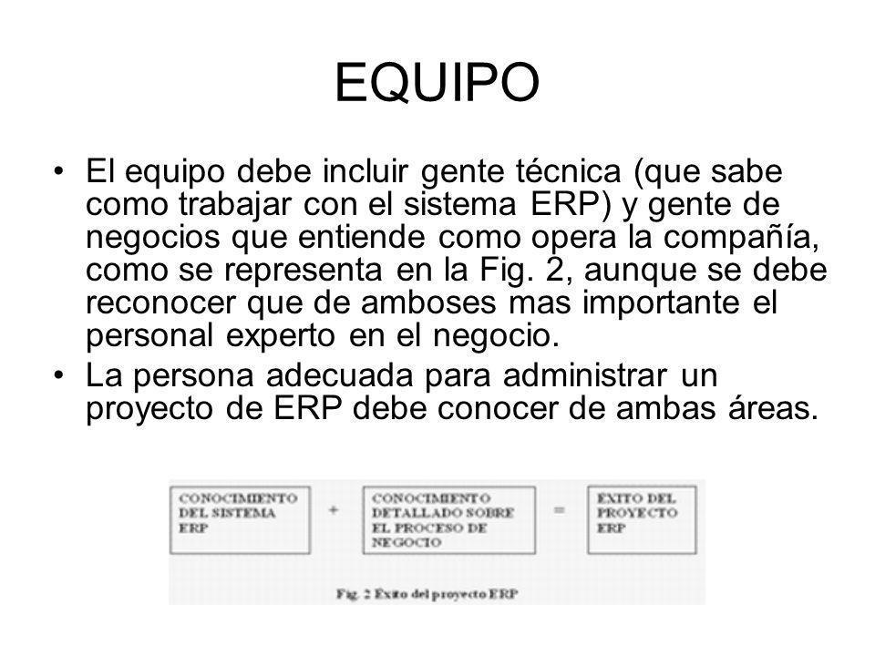 EQUIPO El equipo debe incluir gente técnica (que sabe como trabajar con el sistema ERP) y gente de negocios que entiende como opera la compañía, como