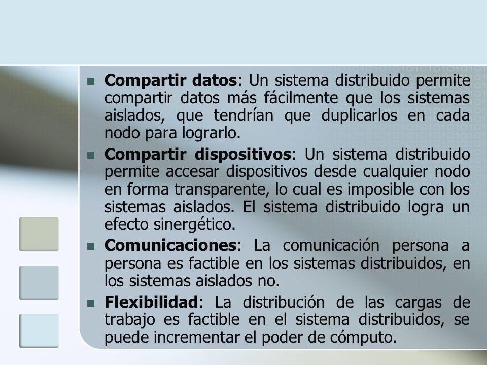 Compartir datos: Un sistema distribuido permite compartir datos más fácilmente que los sistemas aislados, que tendrían que duplicarlos en cada nodo pa