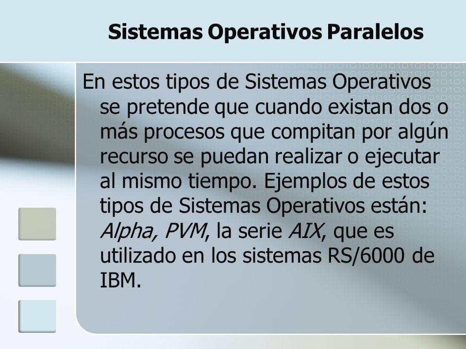 Sistemas Operativos Paralelos En estos tipos de Sistemas Operativos se pretende que cuando existan dos o más procesos que compitan por algún recurso s