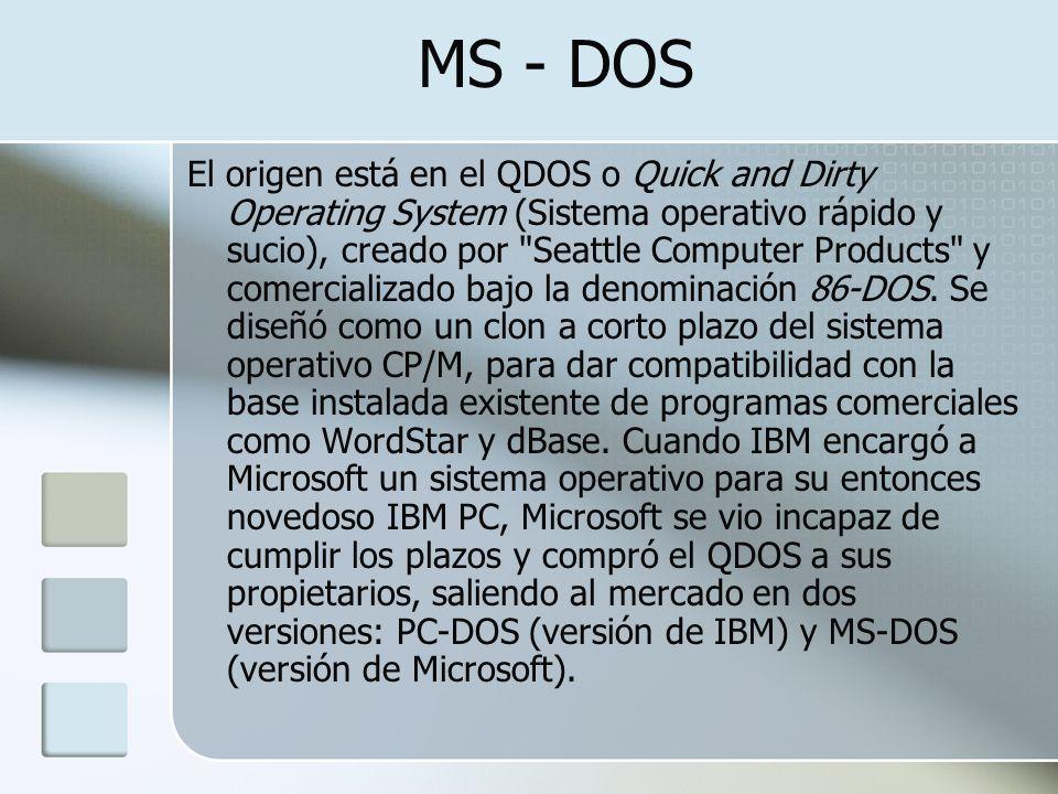 MS - DOS El origen está en el QDOS o Quick and Dirty Operating System (Sistema operativo rápido y sucio), creado por