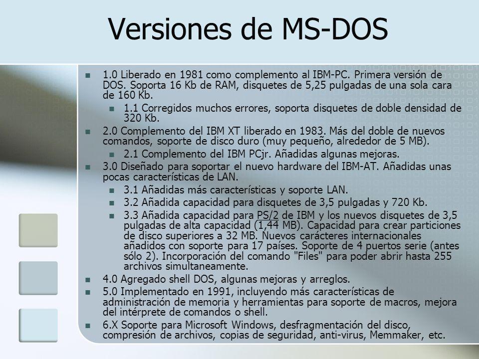 Versiones de MS-DOS 1.0 Liberado en 1981 como complemento al IBM-PC. Primera versión de DOS. Soporta 16 Kb de RAM, disquetes de 5,25 pulgadas de una s