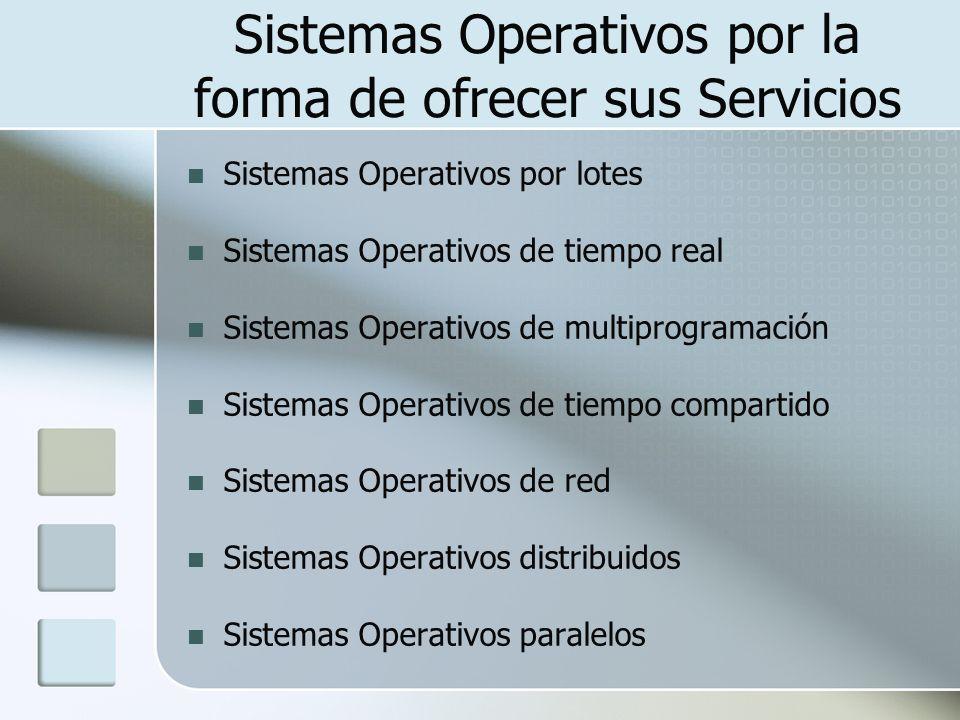 Sistemas Operativos por la forma de ofrecer sus Servicios Sistemas Operativos por lotes Sistemas Operativos de tiempo real Sistemas Operativos de mult