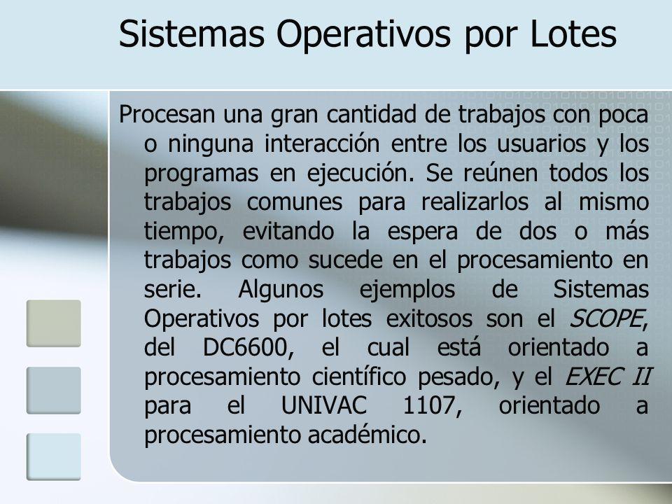 Sistemas Operativos por Lotes Procesan una gran cantidad de trabajos con poca o ninguna interacción entre los usuarios y los programas en ejecución. S