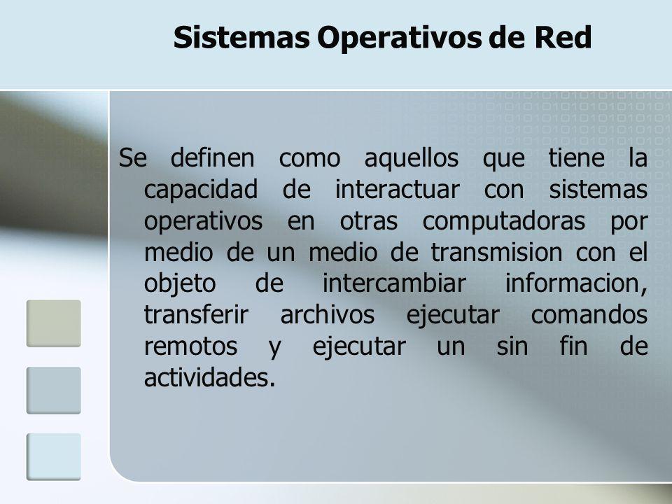 Sistemas Operativos de Red Se definen como aquellos que tiene la capacidad de interactuar con sistemas operativos en otras computadoras por medio de u