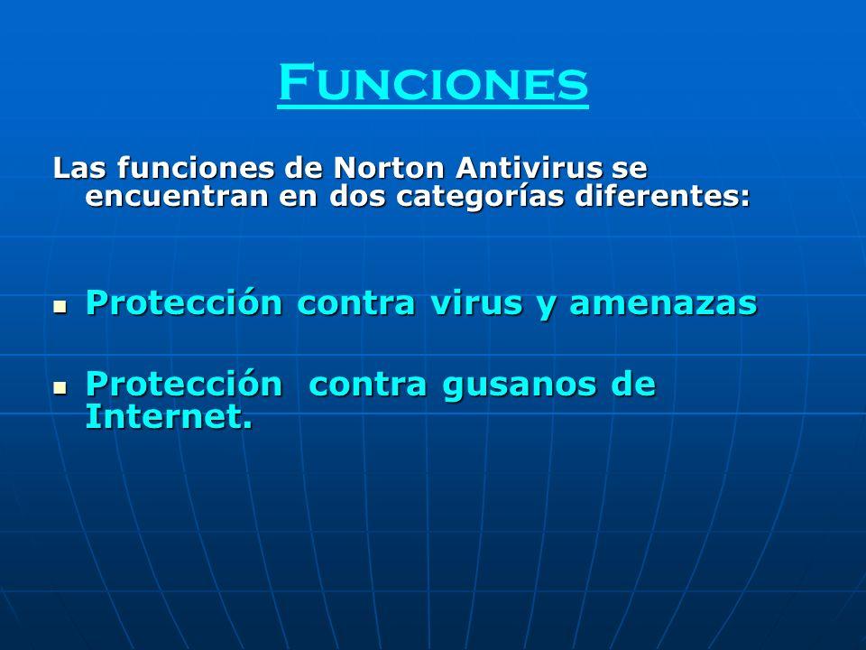 Funciones Las funciones de Norton Antivirus se encuentran en dos categorías diferentes: Protección contra virus y amenazas Protección contra virus y a