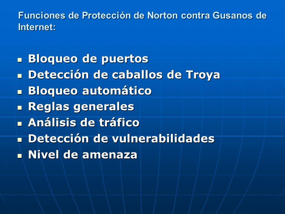 Funciones de Protección de Norton contra Gusanos de Internet: Bloqueo de puertos Bloqueo de puertos Detección de caballos de Troya Detección de caball