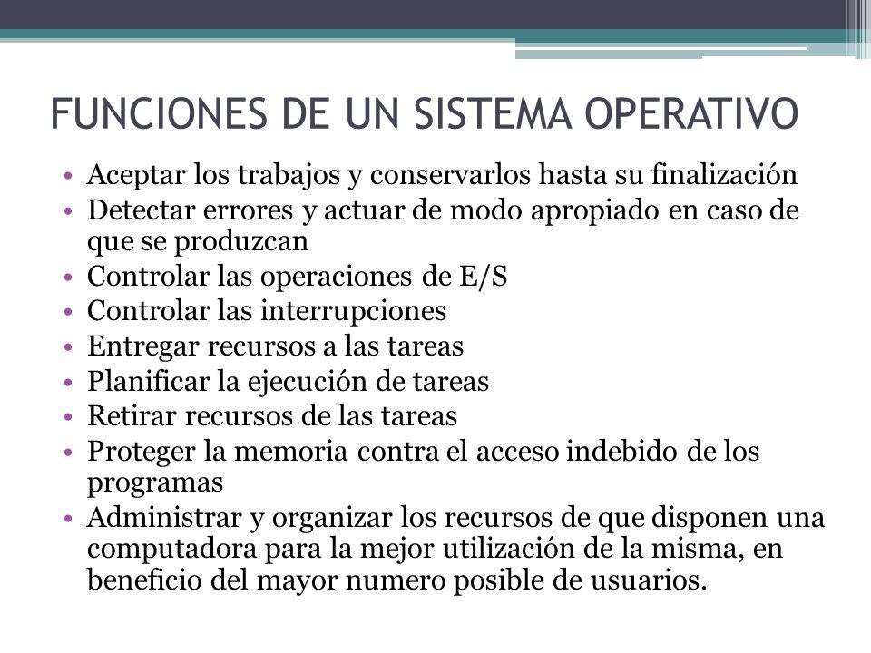 FUNCIONES DE UN SISTEMA OPERATIVO Aceptar los trabajos y conservarlos hasta su finalización Detectar errores y actuar de modo apropiado en caso de que