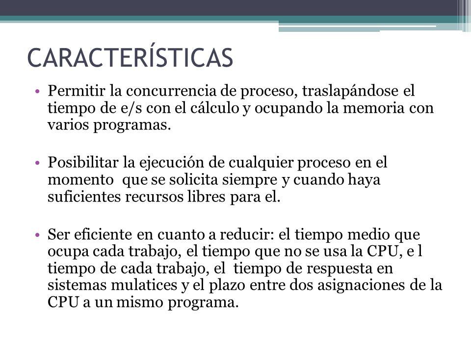 CARACTERÍSTICAS Permitir la concurrencia de proceso, traslapándose el tiempo de e/s con el cálculo y ocupando la memoria con varios programas. Posibil