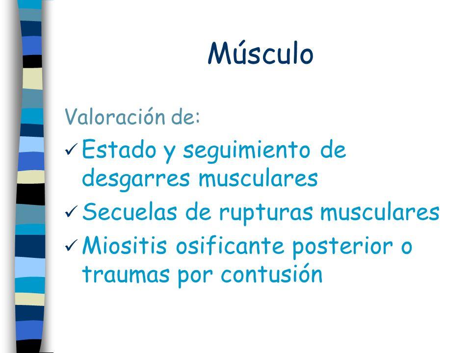 Músculo Valoración de: Estado y seguimiento de desgarres musculares Secuelas de rupturas musculares Miositis osificante posterior o traumas por contusión