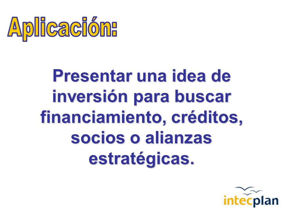 Presentar una idea de inversión para buscar financiamiento, créditos, socios o alianzas estratégicas.