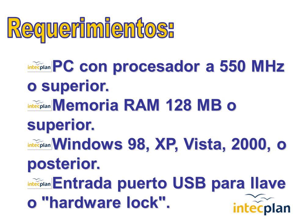 PC con procesador a 550 MHz o superior. Memoria RAM 128 MB o superior.