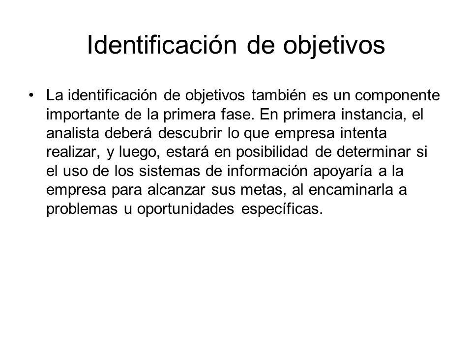 Identificación de objetivos La identificación de objetivos también es un componente importante de la primera fase. En primera instancia, el analista d