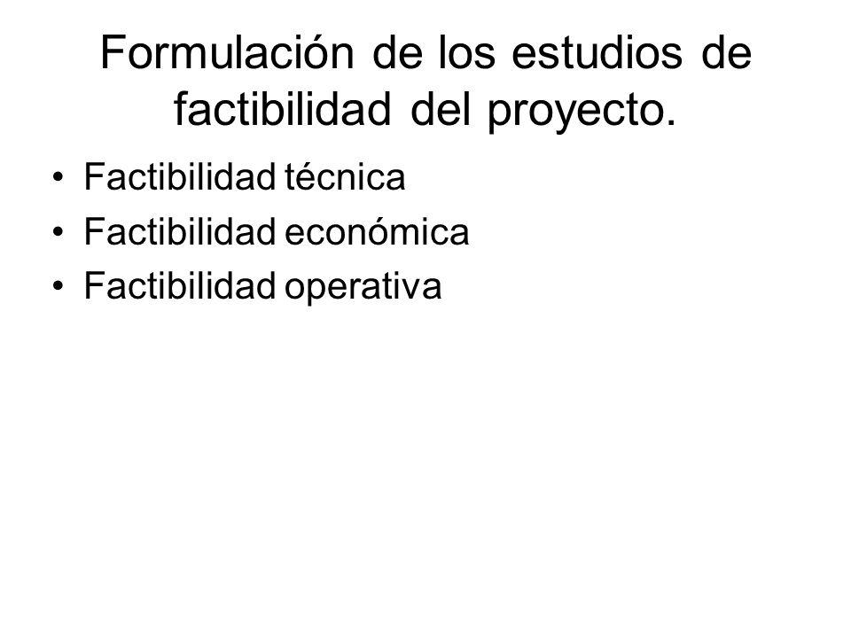 Formulación de los estudios de factibilidad del proyecto. Factibilidad técnica Factibilidad económica Factibilidad operativa