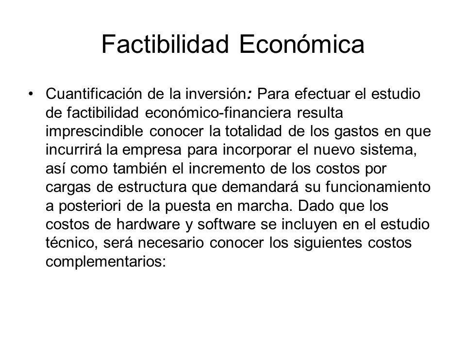 Factibilidad Económica Cuantificación de la inversión: Para efectuar el estudio de factibilidad económico-financiera resulta imprescindible conocer la