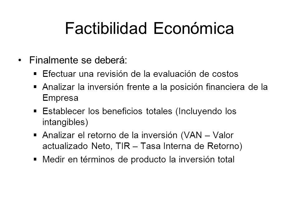 Factibilidad Económica Finalmente se deberá: Efectuar una revisión de la evaluación de costos Analizar la inversión frente a la posición financiera de