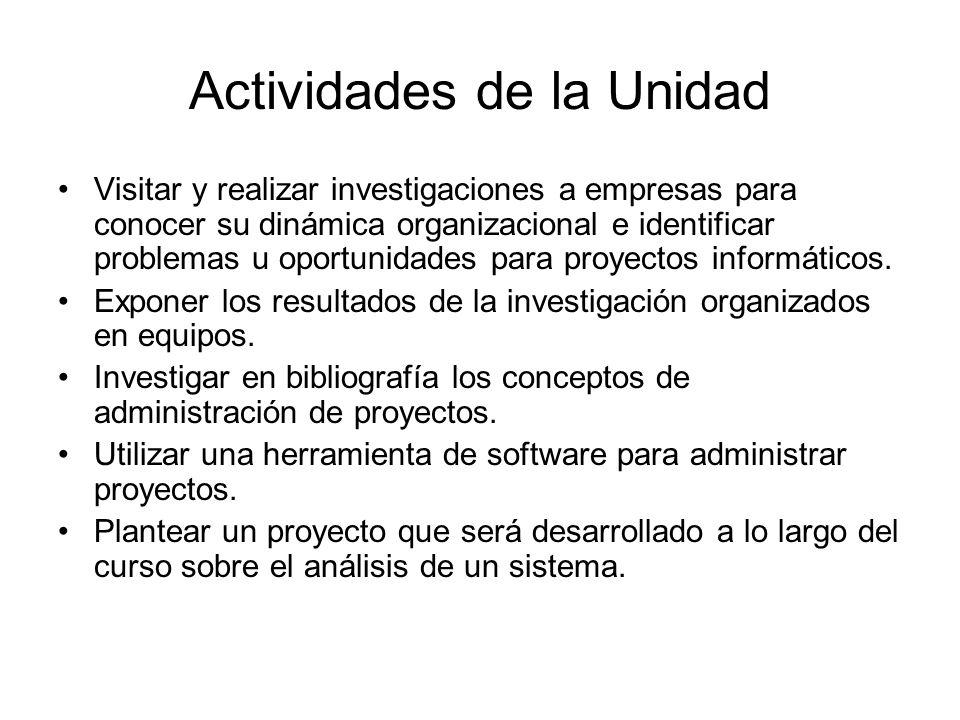 Actividades de la Unidad Visitar y realizar investigaciones a empresas para conocer su dinámica organizacional e identificar problemas u oportunidades