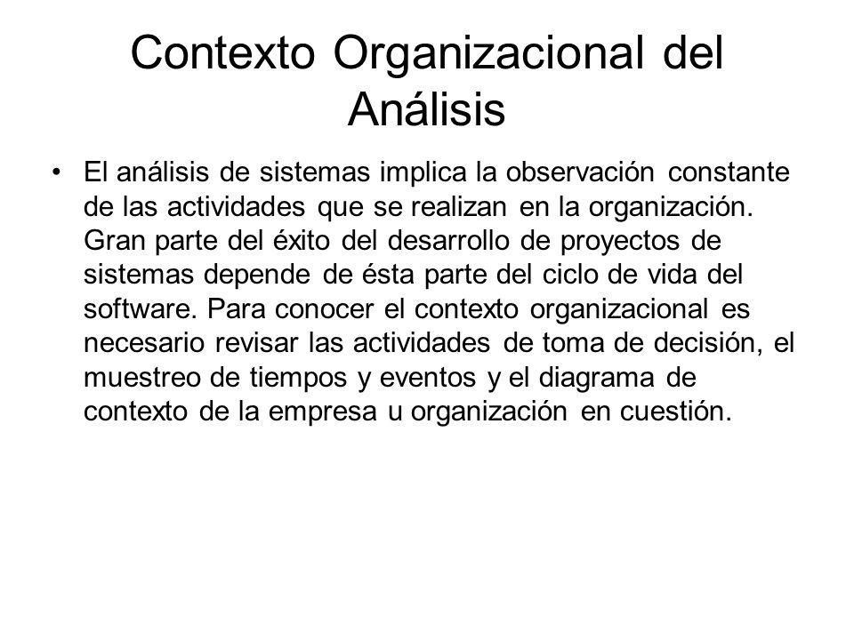 Contexto Organizacional del Análisis El análisis de sistemas implica la observación constante de las actividades que se realizan en la organización. G