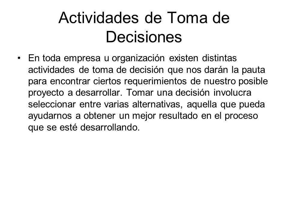 Actividades de Toma de Decisiones En toda empresa u organización existen distintas actividades de toma de decisión que nos darán la pauta para encontr
