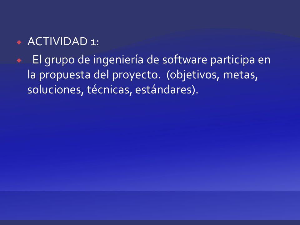 ACTIVIDAD 1: El grupo de ingeniería de software participa en la propuesta del proyecto. (objetivos, metas, soluciones, técnicas, estándares).