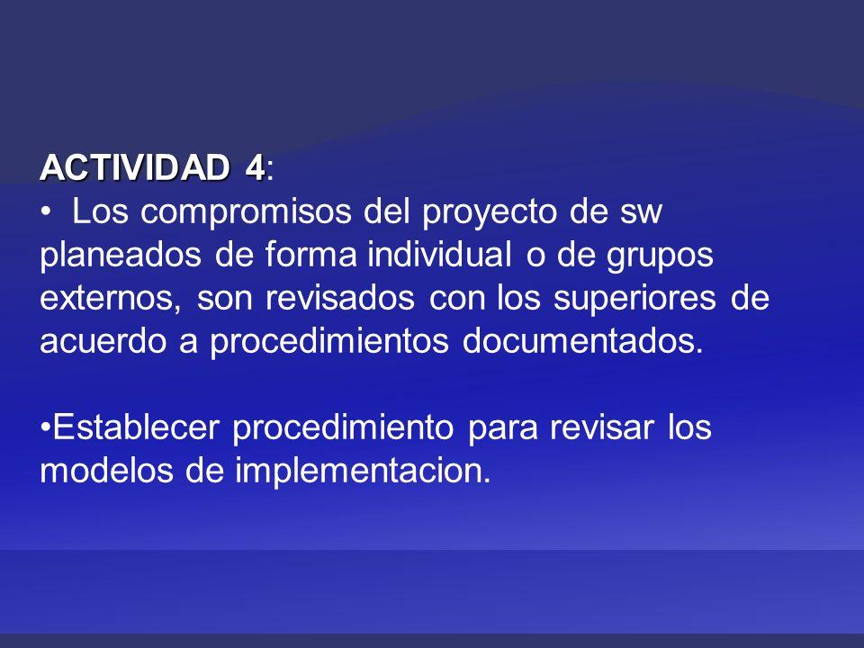ACTIVIDAD 4 ACTIVIDAD 4: Los compromisos del proyecto de sw planeados de forma individual o de grupos externos, son revisados con los superiores de acuerdo a procedimientos documentados.