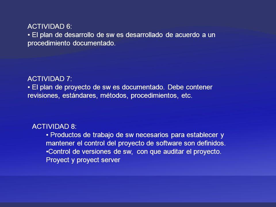ACTIVIDAD 6: El plan de desarrollo de sw es desarrollado de acuerdo a un procedimiento documentado. ACTIVIDAD 7: El plan de proyecto de sw es document