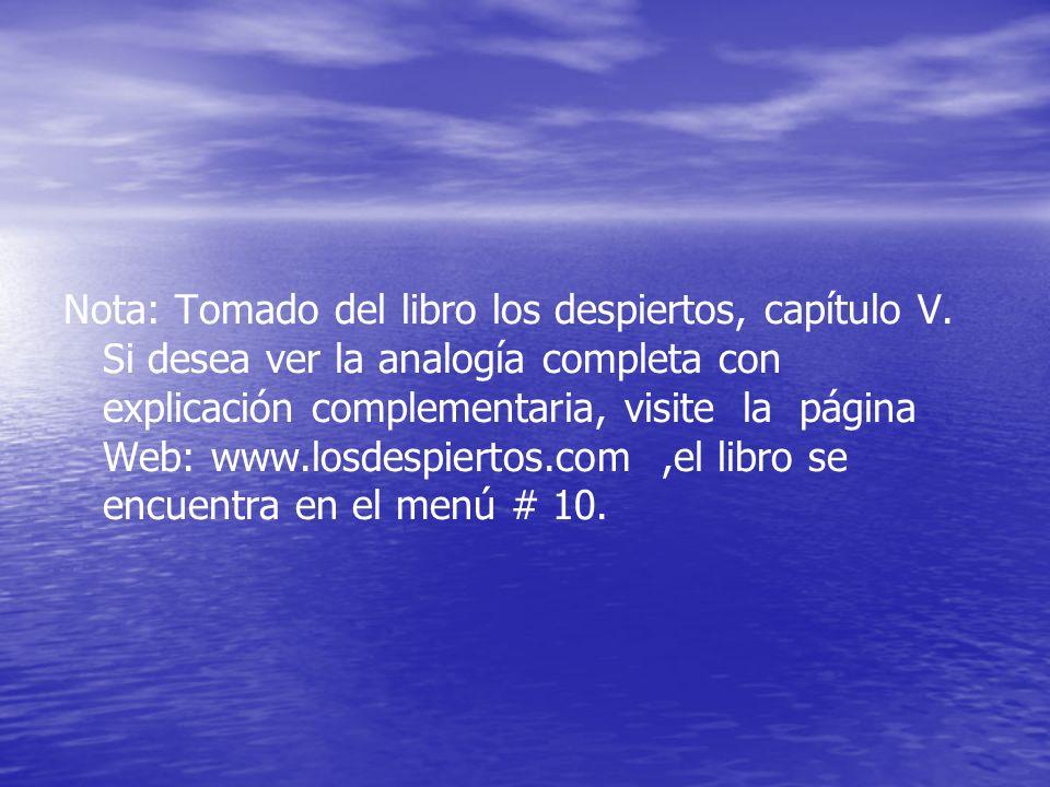 Nota: Tomado del libro los despiertos, capítulo V. Si desea ver la analogía completa con explicación complementaria, visite la página Web: www.losdesp