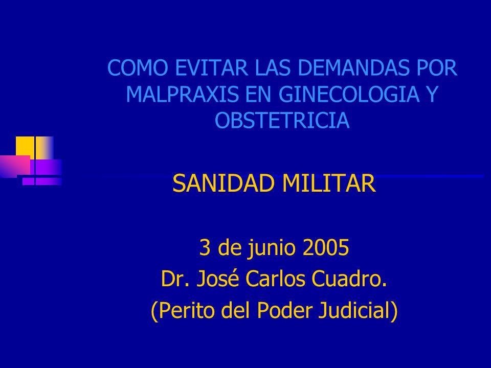 JCC1 COMO EVITAR LAS DEMANDAS POR MALPRAXIS EN GINECOLOGIA Y OBSTETRICIA SANIDAD MILITAR 3 de junio 2005 Dr. José Carlos Cuadro. (Perito del Poder Jud
