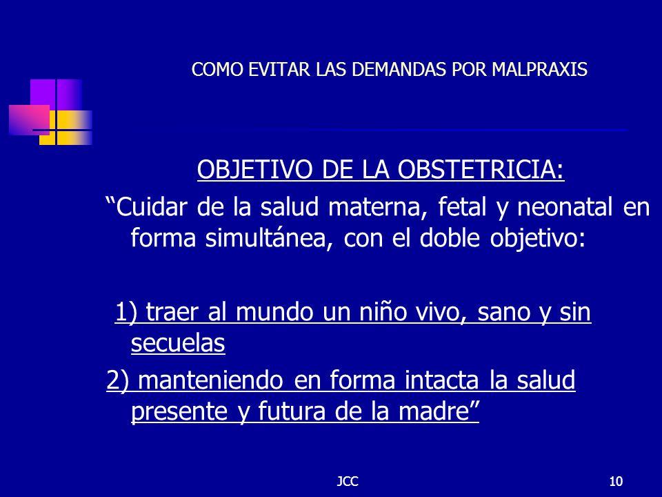 JCC10 COMO EVITAR LAS DEMANDAS POR MALPRAXIS OBJETIVO DE LA OBSTETRICIA: Cuidar de la salud materna, fetal y neonatal en forma simultánea, con el dobl