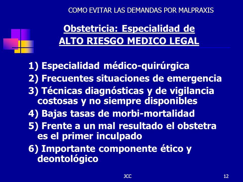 JCC12 COMO EVITAR LAS DEMANDAS POR MALPRAXIS Obstetricia: Especialidad de ALTO RIESGO MEDICO LEGAL 1) Especialidad médico-quirúrgica 2) Frecuentes sit