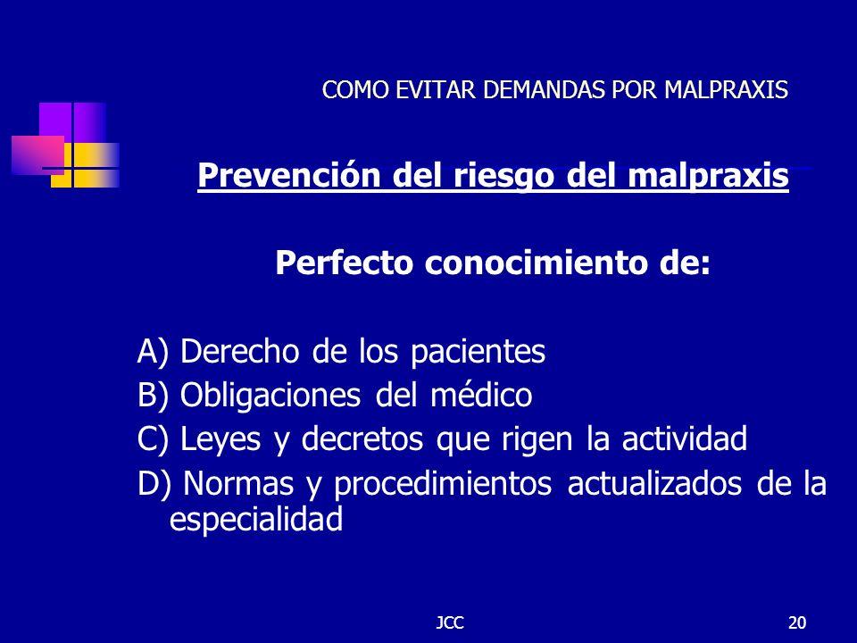 JCC20 COMO EVITAR DEMANDAS POR MALPRAXIS Prevención del riesgo del malpraxis Perfecto conocimiento de: A) Derecho de los pacientes B) Obligaciones del