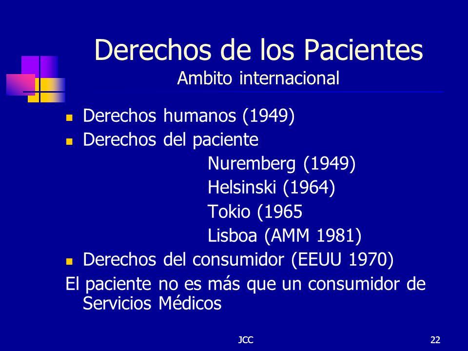 JCC22 Derechos de los Pacientes Ambito internacional Derechos humanos (1949) Derechos del paciente Nuremberg (1949) Helsinski (1964) Tokio (1965 Lisbo