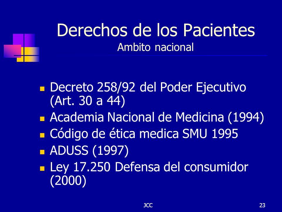 JCC23 Derechos de los Pacientes Ambito nacional Decreto 258/92 del Poder Ejecutivo (Art. 30 a 44) Academia Nacional de Medicina (1994) Código de ética